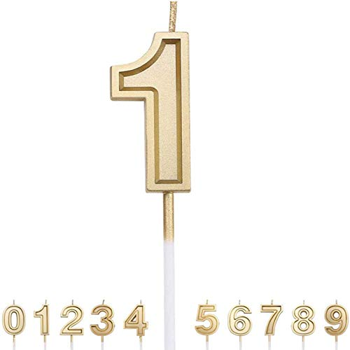 Gesentur Birthday Candle Numbers Gold Glitter Happy Birthday Numeral for Weddings, Reunions, Theme Party Perfect Baby's Pet's Birthday Cake Candle (Number 1)