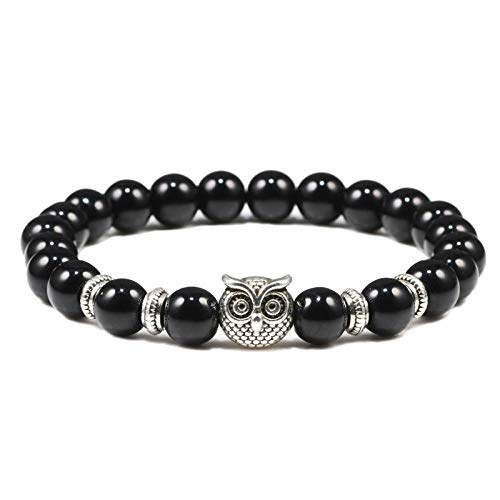 Pulsera Black Lava Mate Stone Owl Buddha Bead Hombres Pulseras Brazaletes Para Mujer Charm Yoga Joyería Regalo-negro brillante_PORCELANA