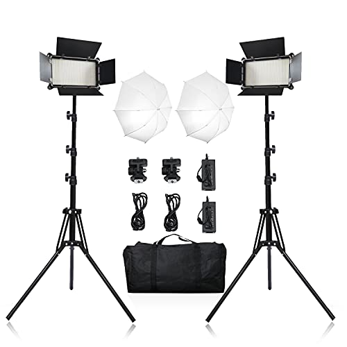 2 Packs LED Video Light Kit with Umbrella Diffuser, Photography Video Lighting Kit with Stands and Bag,600 SMD LEDs/3500-5500K/Brightness 1-100%/3600LM, for Portrait Product Fashion Photography