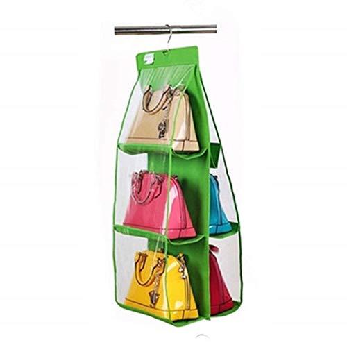 KIRALOVE Garderobhållare – garderobsorganisatör – handväska hållare – 6 fack – se på TV – grön färg – garderobsdel