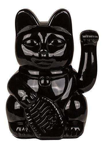 Out of the Blue 57/9820 – Gato de plástico Negro, Aprox. Amuleto de la Suerte Tradicional de Asia, Funciona con Pilas, en Caja de Regalo