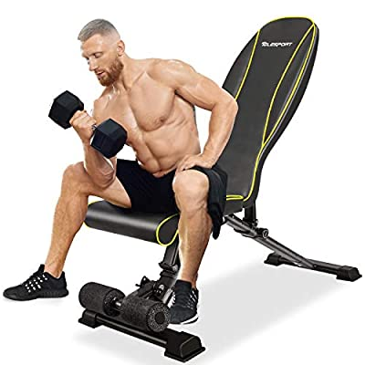 TELESPORT Adjustable Bench, Multi-Purpose Strength Training Bench for Full Body Exercise, Foldable Bench for Home Gym, 600LBS Weight Capacity