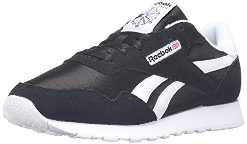 Reebok Men's Royal Nylon Classic Fashion Sneaker, Black/Black/White, 9.5 M US