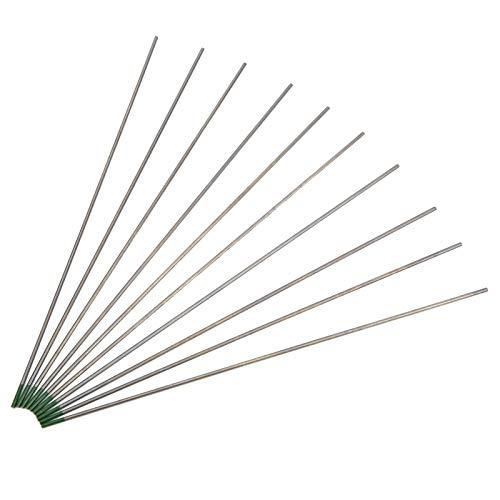 Electrodo de Tungsteno de Soldadura Tig de 10 Piezas Varilla de Electrodo de Tungsteno de Tungsteno Puro de 1,6 mm X 175 mm Verde para Soldar Aleación Fina de Acero y Aluminio