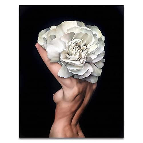 Pintura al óleo por números de flores y mujeres pintura de bricolaje por números sobre lienzo decoración del hogar pintura digital sin marco A6 60x75cm