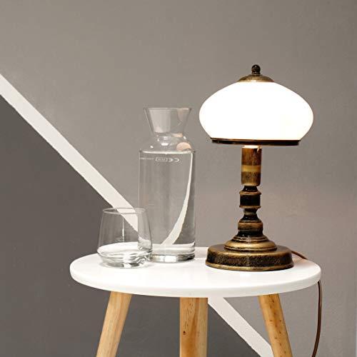 Tischlampe Messing Weiß Glas Metall rund 32cm edel SALLY Lampe Jugendstil Antik Nachttischlampe Beistelltisch