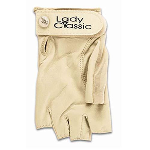 Lady Classic Solar Half Finger Golf Glove Beige Small Worn on Right Hand
