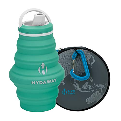 HYDAWAY Hydration Travel Pack | Collapsible Water Bottle with Spout Lid and Compact Travel Case with Carry Clip (Mist)