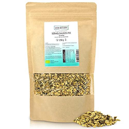 VITA NATURA Süßholzwurzel Tee - 100 % reine Süßholzwurzel - aus Ägypten - Lakritzgeschmack - loser Bio Arzneitee - in 250 g Aroma-Packung erhältlich