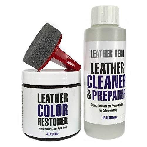 Leather Hero Leather Color Restorer Repair Kit- Refinish, Recolor, Renew Leather & Vinyl Sofa, Purse, Shoes, Auto Car Seats, Couch 4oz (Black)