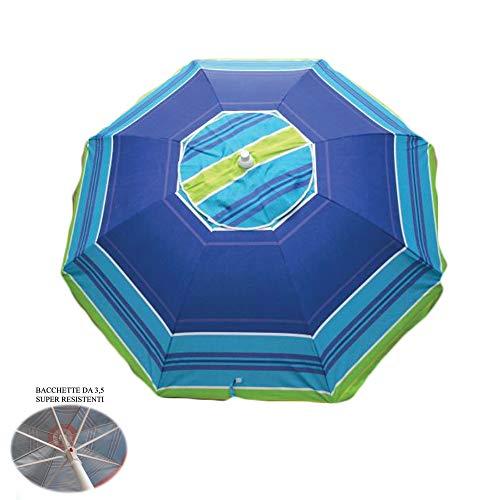 Ombrellone da spiaggia in policotone diam. 200cm,ombrellone mare portatile con custodia con tracolla,ombrellone spiaggia Ø 2M colorato Positano/3,ombrellone in acciaio bacchette 3,5mm,interno anti UV