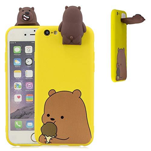 YuanYuZhongPhoneSky Cover Silicone per Apple iPhone 6 / iPhone 6S 4.7'' Carino Cartone Animale Animali Bambola - Orso - Kickstand Supporto Funzione, Custodia Antiurto Morbida Elastica, Giallo Acceso