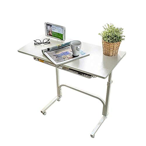 NBVCX Furniture Decoration Table Side Table Standing Computer Desk Adjustable Laptop Stand Portable Cart Tray Side Table with Storage Shelf (Color : White Size : 31.49 * 15.74 * 24.40in)