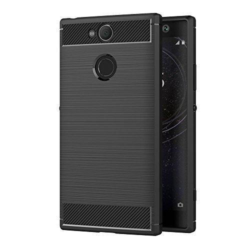AICEK Sony Xperia XA2 Hülle, Schwarz Silikon Handyhülle für Sony XA2 Schutzhülle Karbon Optik Soft Hülle (5,2 Zoll)