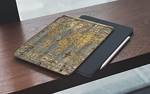 MEMETARO Funda para iPad 10.2 Pulgadas,2019/2020 Modelo, 7ª / 8ª generación,Mapa del Mundo Retro Ojales Reforzados World Wonders Compass Smart Leather Stand Cover with Auto Wake/Sleep