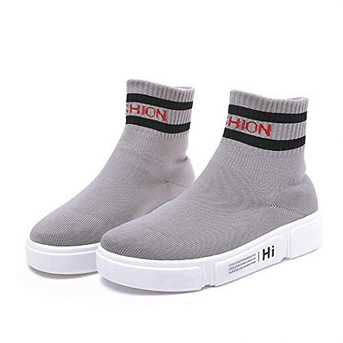Lucdespo Ladies Casual Shoes Bottes Plates Bottomed Chaussettes Chaussures Style Joker Flying Mesh Sports Shoes.Gray, 39