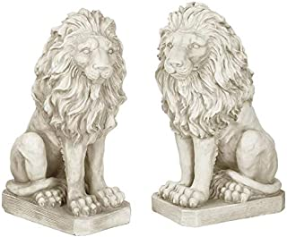 Design Toscano SH943 Mansfield Manor Lion Sentinel Statue: Left & Right, 21 Inches, Set, Antique Stone