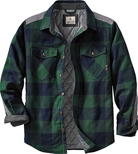 Legendary Whitetails Men's Standard Woodsman Heavyweight Quilted Shirt Jacket, Evergreen Plaid, Medium