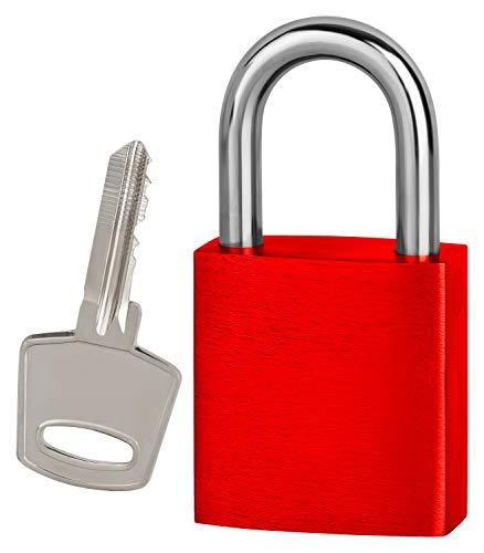 Vorhängeschloss Liebesschloss mit Bügel und Schlüssel 75x38mm ohne Gravur (rot)