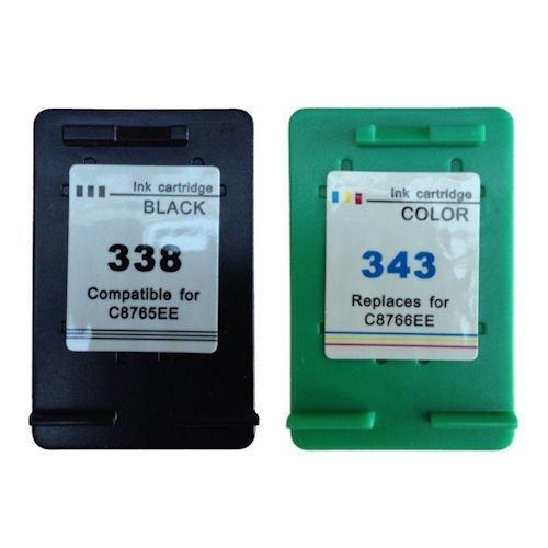 2 cartuchos de tinta Genérico HP338 HP343 Deskjet 3200 460C 5700 5740 5740XI 5745 6520 6540 6620 entre otras HP 338 HP 343 9800