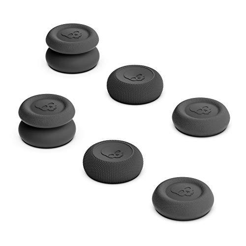 Skull & Co. Skin, CQC And FPS Thumb Grip Set Joystick cap Analog Stick cap for Nintendo Switch PRO Controller & PS4 / Slim/PRO Controller- Black, 3Pairs(6pcs)