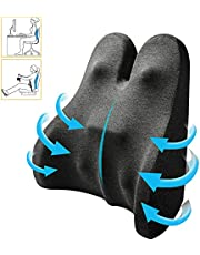 Lumbar Support Pillow Upgraded Back Support Pillow Memory Foam Back Cushion Backrest with Massage Nodes and Adjustable Strap, Ergonomic Design for Lower Back Pain Relief - Ideal for Car Home Office