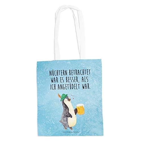 Mr. & Mrs. Panda Baumwolltasche, Shopper, Tragetasche Pinguin Bier mit Spruch - Farbe Eisblau