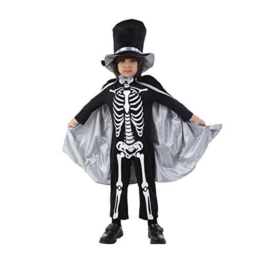 Halloween Halloween Kostuums Halloween Kinderkostuums Cosplay Show Kleding Jongen Horror Skeleton Skeletal Devil Zombie Pak (Kleur : Zwart)