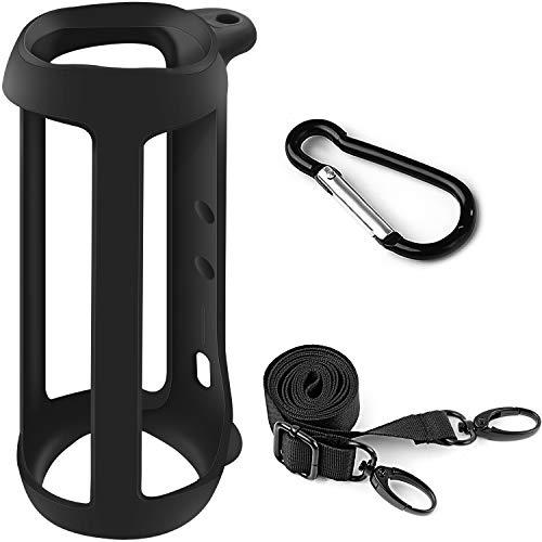 Silikon TPU Tasche kompatibel für JBL Flip 5 Bluetooth Box,Gel weiche Hautabdeckung, wasserdichte Gummihülle, Reisetasche mit Gurt (Lautsprecher und Zubehör Nicht im Lieferumfang enthalten)-Schwarz