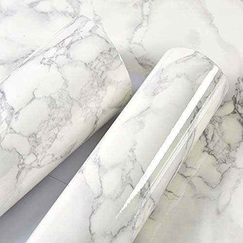 Bedler 10 m de mármol patrón Resistente al Agua a Prueba de Humedad extraíble Autoadhesivo Papel Pintado pelar y Pegar PVC Pegatinas de Pared para la Sala de Estar Cuarto de baño Cocina encimera 1#