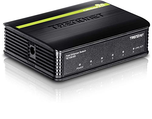 TRENDnet 5Port Unmanaged 10/100 Mbps GREENnet Ethernet Desktop Plastic Housing Switch 5 X 10/100 Mbps Ports 1Gbps Switching Capacity TE100S5