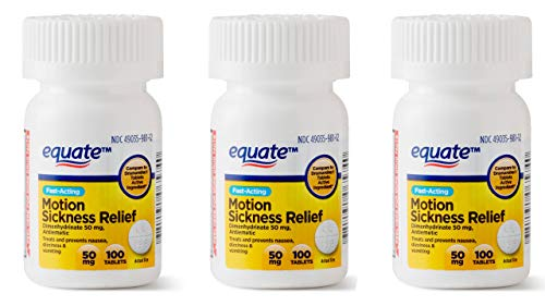 Equate Motion Sickness Dimenhydrinate 50 mg Generic Dramamine 100 Tablets (3 Pack)
