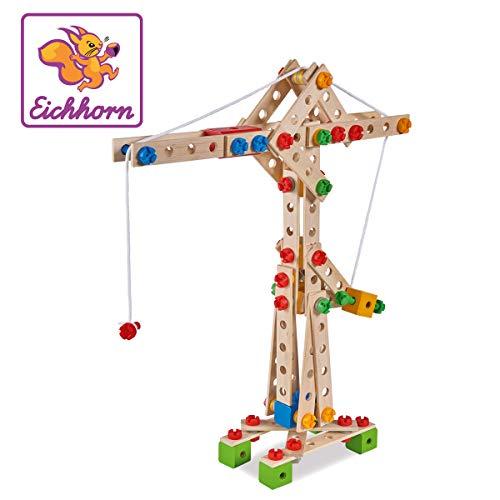Eichhorn - 100039047 - Jeu de Construction Bois -  Maxi Grue - 170 Pièces - 5 en 1