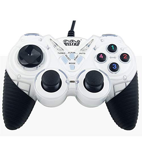 Game Controller Gaming Joystick USB Gamepad voor PC Laptop Vibratie Gamepads voor Raam 7 & 10, Wit