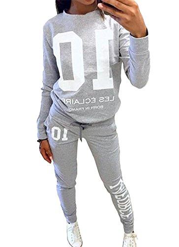 Minetom Damen Wort Schulter Langarm Anzug Pullover Sport-Anzüge Grau DE 38