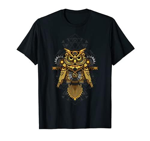 Búho steampunk mecánico. Camiseta