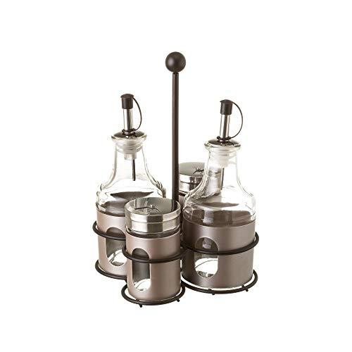 LOLAhome Aceitera y vinagrera de Acero Inoxidable Modernas para Cocina (Pack con 2 Saleros, Gris)