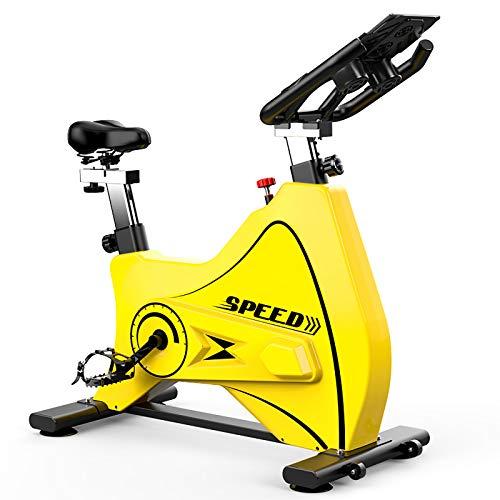 MLKE Bicicleta de ciclismo para interiores, bicicleta estática para gimnasio en casa con cómodo cojín de asiento silencioso, correa silenciosa, bicicleta deportiva todo incluido, color amarillo