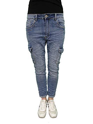 Karostar Denim Stretch Baggy-Cargo-jeans met zijzakken