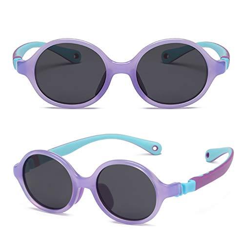 Gafas De Sol Polarizadas para Niños TR90 Flexible Frame Sports UV400 Protección Gafas para Niños Y Niñas Edad 3-12 Purple