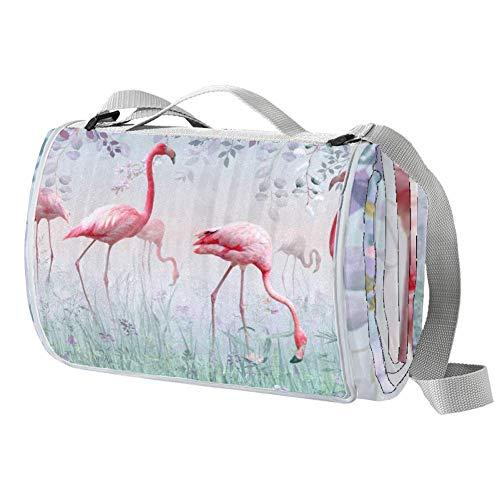 TIZORAX Flamingo in Türkis Nebel Garten Picknickdecke Wasserdicht Outdoor Decke Faltbare Picknickmatte Tragetasche für Strand Camping Wandern