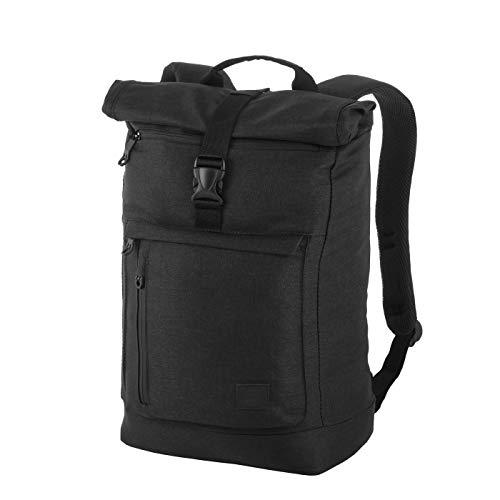 Rada Rucksack RS/38, Freizeitrucksack mit Laptop/Tablet-Fach, DIN A4 Ordner kompatibler Kurierr-Bag für Mädchen und Jungen, wasserabweisender Daypack, Damen und Herren (Black Soft)
