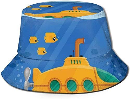 MODORSAN Gelbes U-Boot Periskop Fisch Koralle Seetang Ozean Druck Eimer Hut Fischer Angeln Sonnenmütze für Frauen Reisen