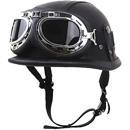 Abierta Medio Casco,Ciclomotor Cascos con Gafas Reflectante,Cascos de Motocicleta para Hombres y Mujeres,La Seguridad Vial de Los Usuarios,Certificado ECE/DOT E,M=57~58CM
