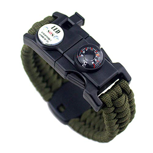 21 en 1 pulsera de supervivencia, 7 Core Paracord deportes de emergencia pulsera Gear Kit impermeable brújula, SOS LED luz, termómetro, silbato de rescate, fuego Starter Multi-Tool Wilderness Adventure accesorios, Hombre, Army Green