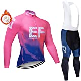 Men's Winter Long Sleeve Cycling Suits Set Cycling Jersey with 5D Gel Padded Long Bib For Men 5D Gel Pad Cycling Pants + Long Sleeve Cycling Jersey