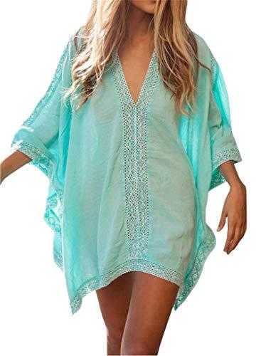 ERGEOB Damen Baumwolle und Spitzenbluse Strand Bikini Badeanzug Strand Kittel blau