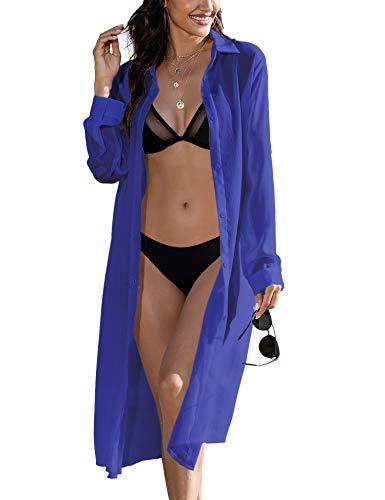 zeagoo Women's Long Sleeve Beach Cover Up Long Sheer Cardigan Chiffon Blouse Top Blue X-Large
