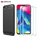 Abbeen Compatible for Oppo A1K Case Ultra-Thin Elastic Soft Carbon Fiber TPU Cover [Slip] [Shockproof] Case for Oppo A1K (Navy)