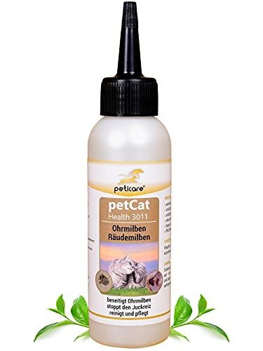 Peticare Ohren-Lösung bei Ohrmilben für Katzen - Wirksames Pflege-Mittel gegen Milben, Ohrräude, stoppt Juckreiz am Ohr, lindert Entzündungen, 100% natürlich - petCat Health 3011